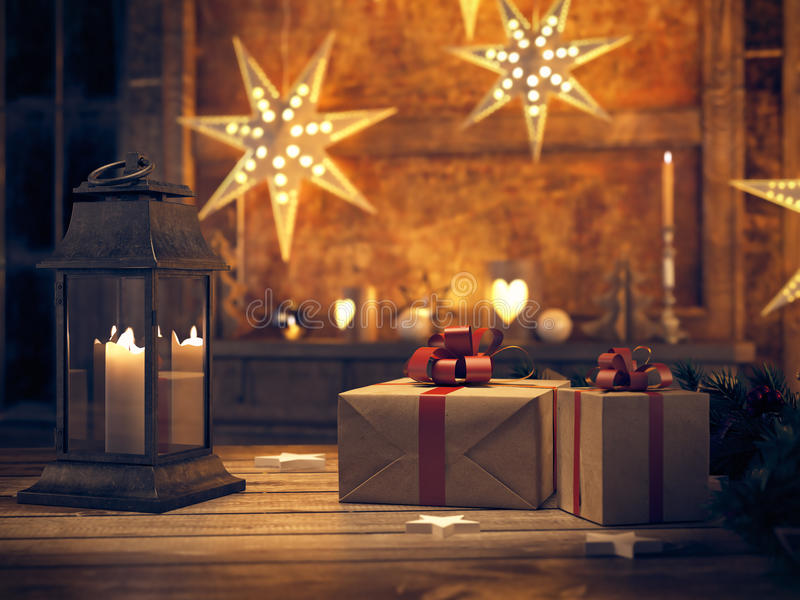 Beautiful gift with Christmas ornaments. 3d rendering royalty free stock images