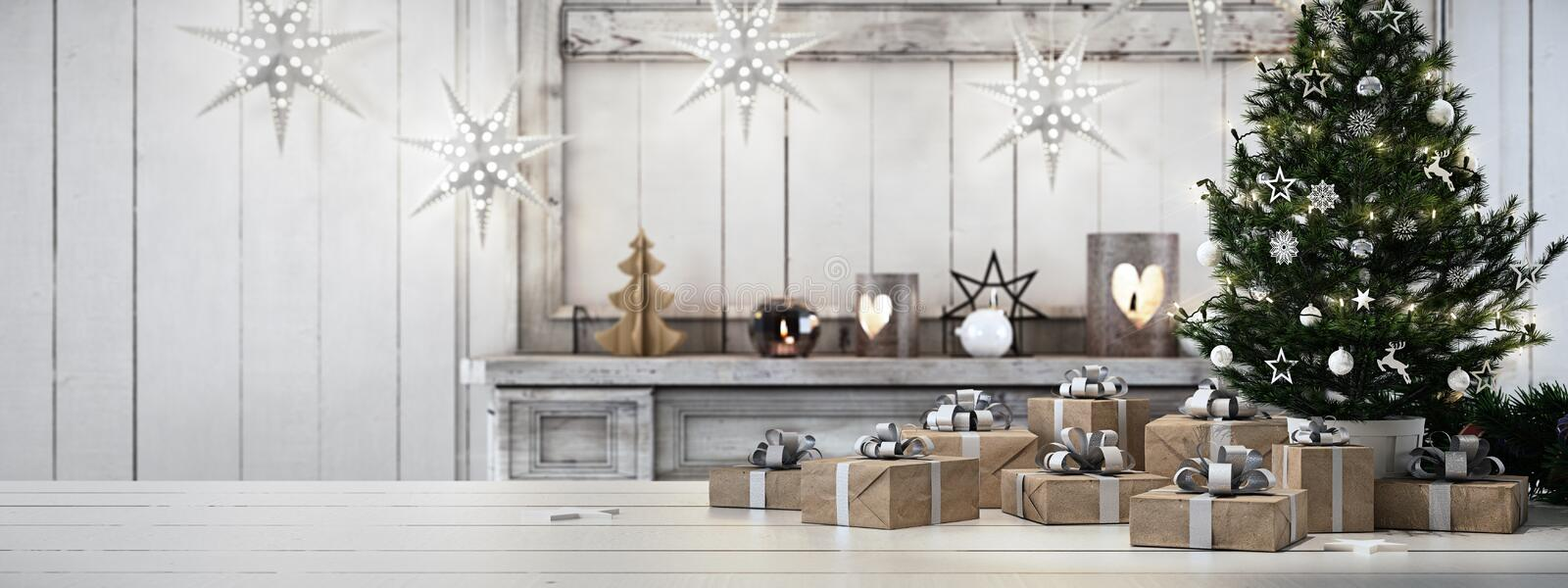 Beautiful gift with Christmas ornaments. 3d rendering stock photography