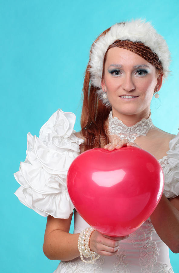 Beautiful ginger red heart dress of Snow Queen