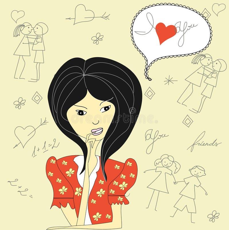 Download Beautiful girl stock vector. Image of couple, cartoon - 15349493