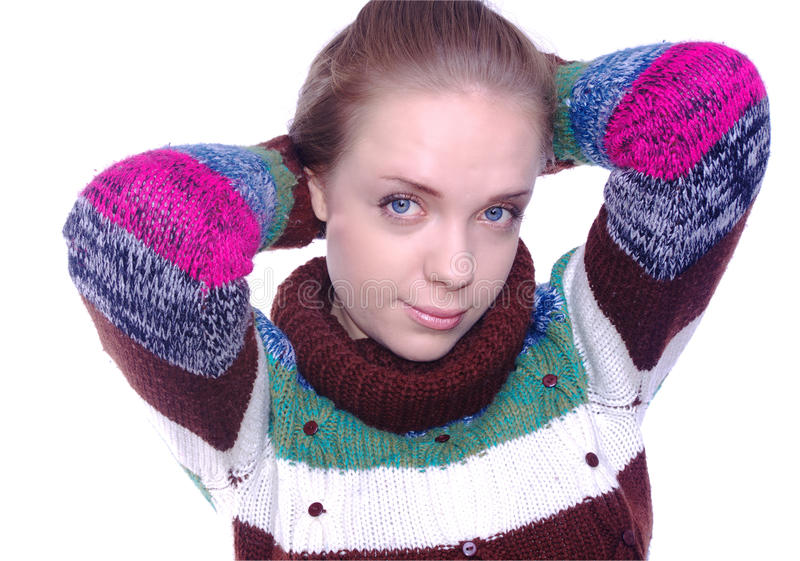 Beautiful girl. Portrait in winter clothes on white stock photos