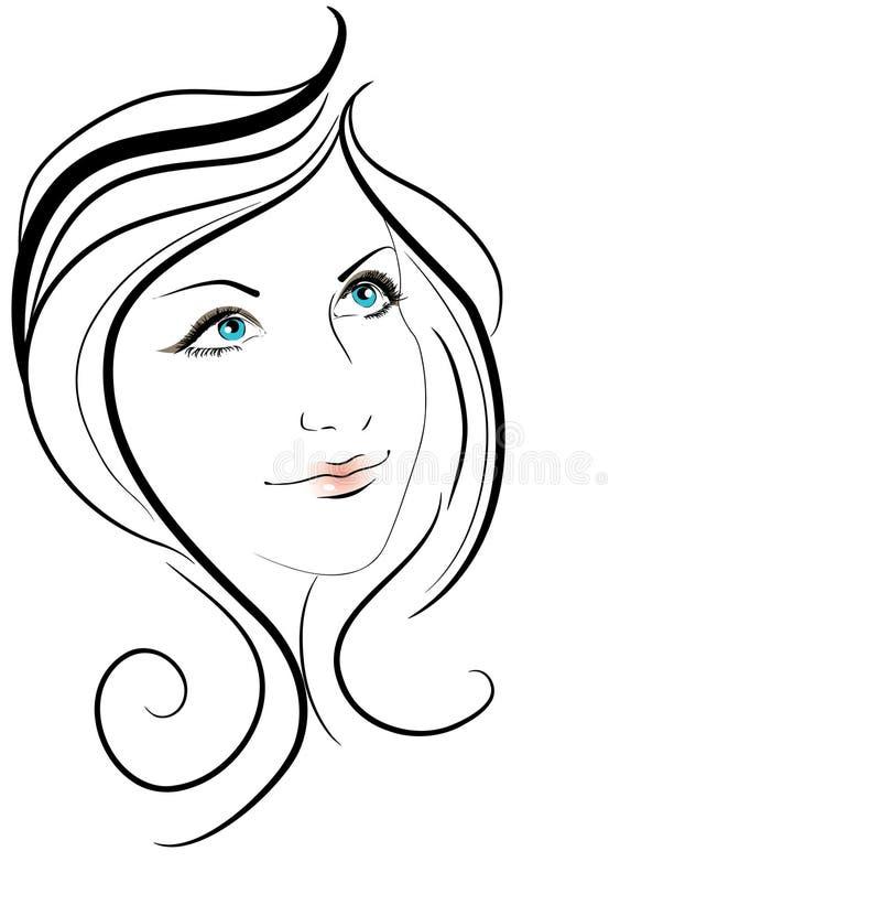 Beautiful girl. Face illustration background