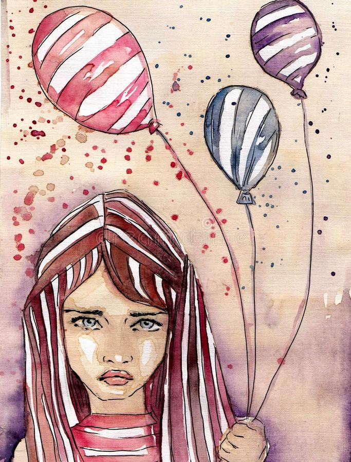 beautiful girl stock illustration