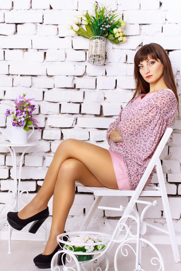 Beautiful Girl. With Spring Flowers Fresh skin in studio royalty free stock images