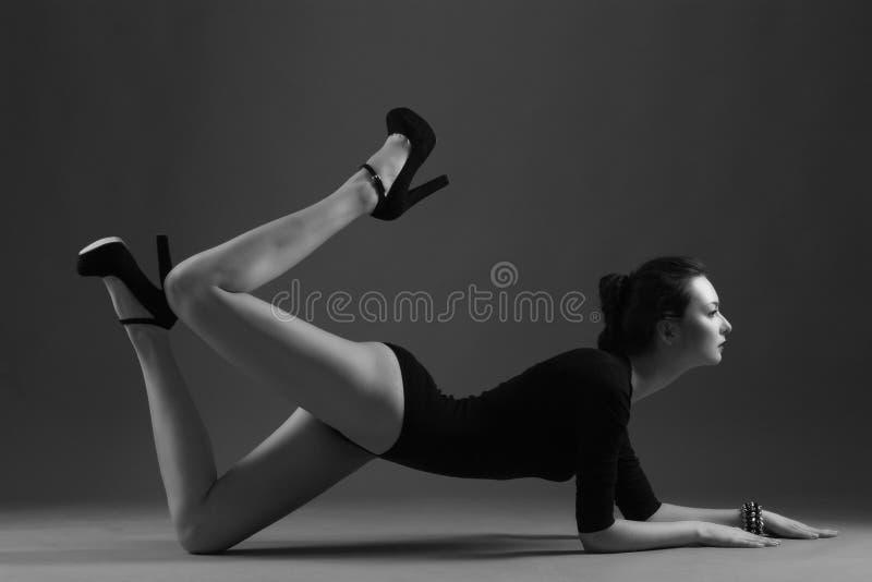 Beautiful girl akrobat fashion stock photos