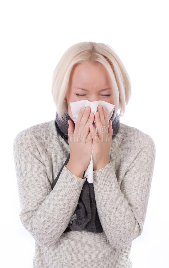 Beautiful girl with allergies royalty free stock photography