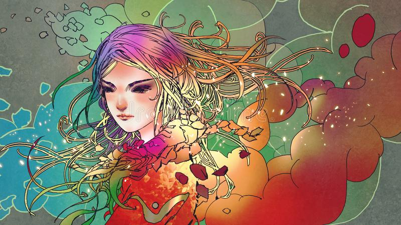 Beautiful girl with anime style. Portrait of the beautiful girl in colorful smoke with anime style, illustration painting vector illustration