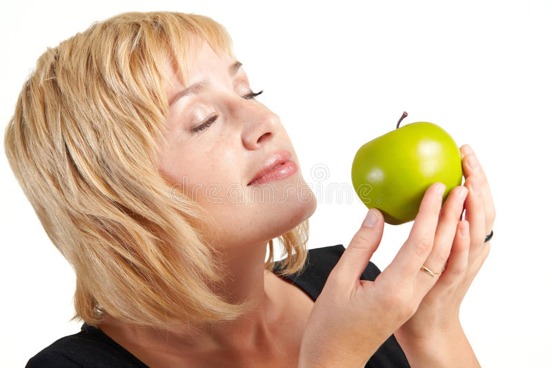 Download Beautiful girl with apple stock photo. Image of human - 15990258