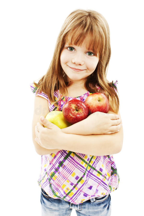 Download Beautiful girl with apple stock image. Image of happy - 21772725