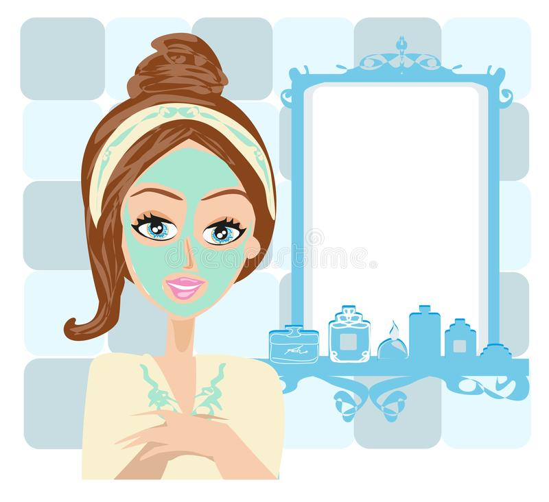 Beautiful girl applying mask on her face stock illustration