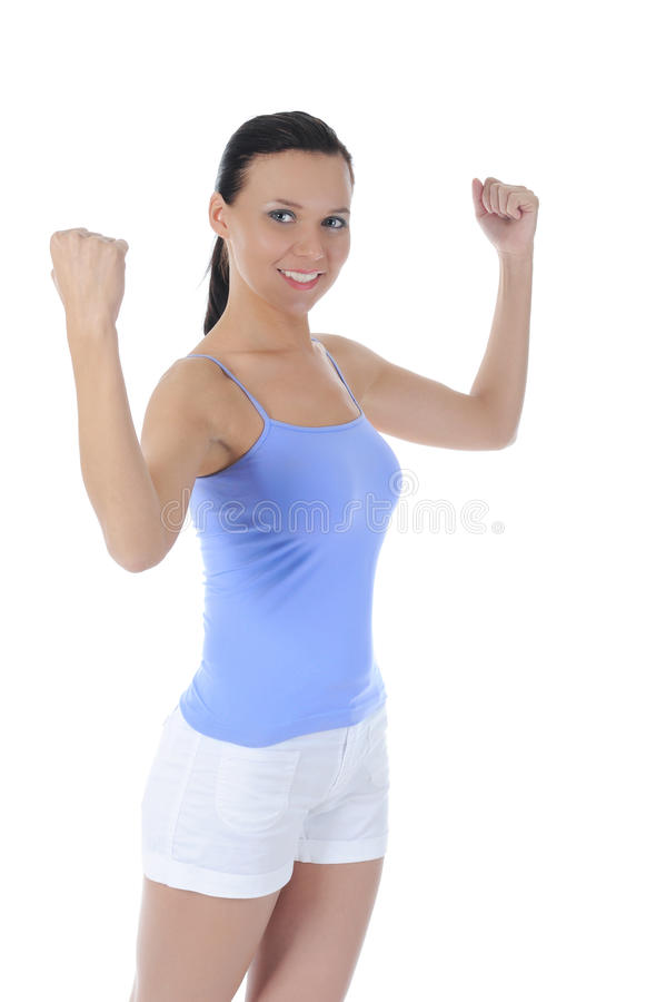 Beautiful Girl Athlete Demonstrates Muscles Stock Photography