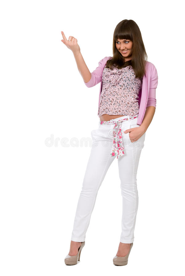Download Beautiful Girl Attracts A Finger To Itself Stock Image - Image of closeup, casual: 25112731