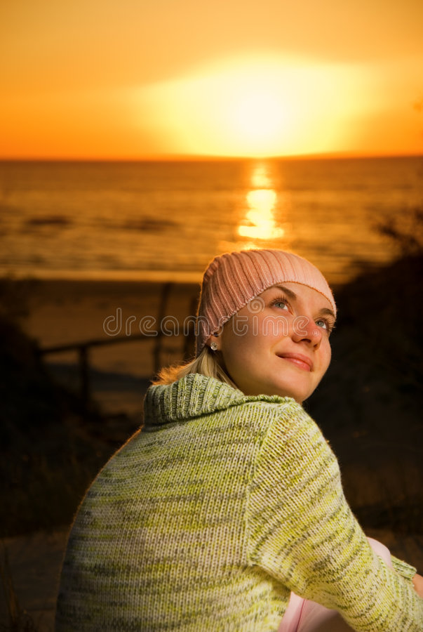 Beautiful girl on the beach royalty free stock photo