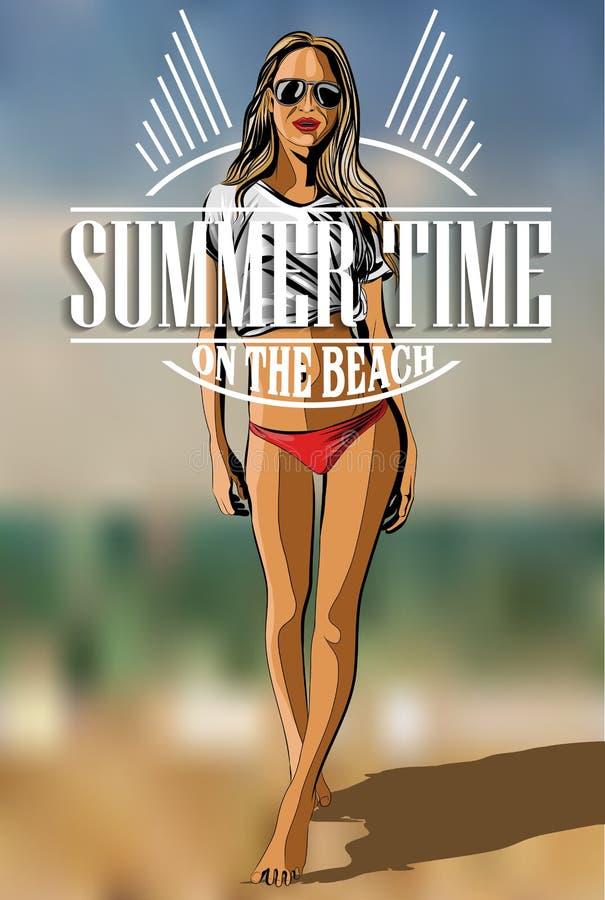 Beautiful Girl On The Beach - Vector Illustration. vector illustration