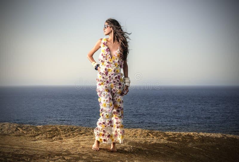 Beautiful girl at the beach royalty free stock photos