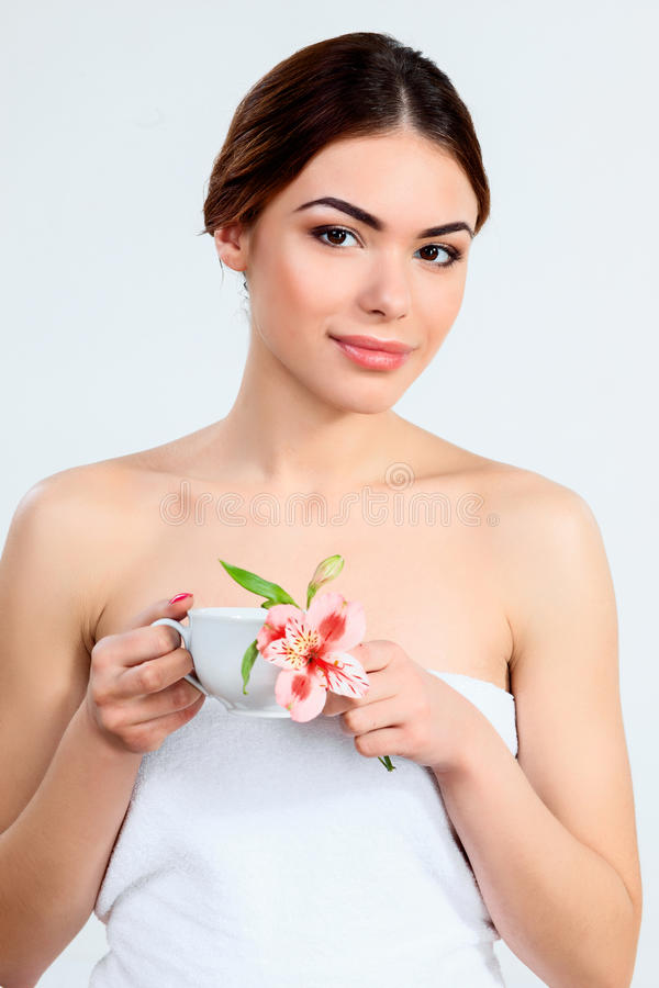Beautiful girl with beautiful makeup, youth and skin care concept royalty free stock photography