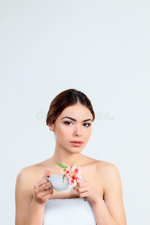 Beautiful girl with beautiful makeup, youth and skin care concept stock images
