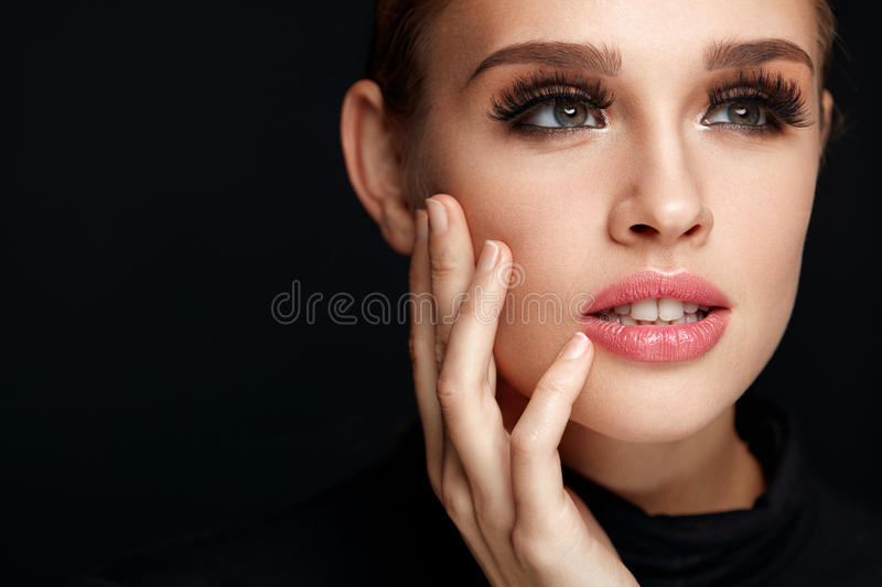 Beautiful Girl With Beauty Face, Makeup And Long Black Eyelashes stock images