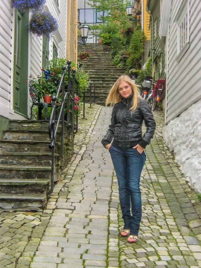 Beautiful girl in Bergen stock photos