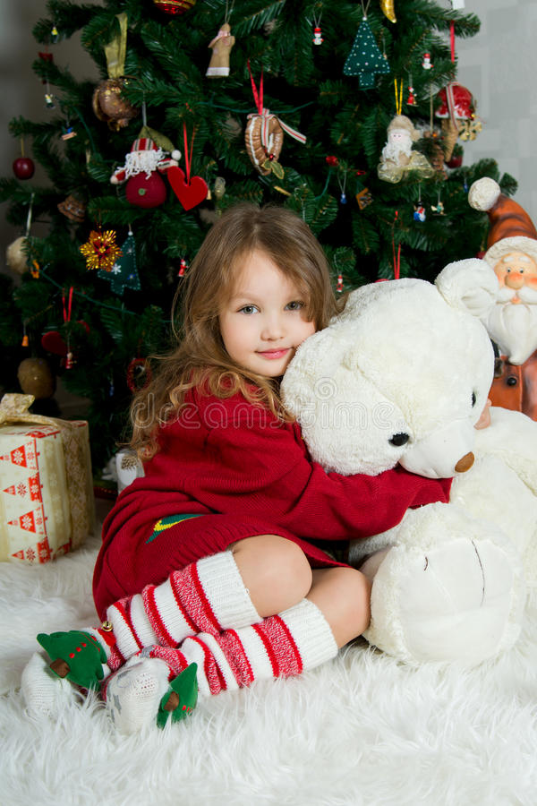 Download Beautiful Girl With Big Toy  Is Waiting Christmas And New Year Stock Image - Image: 46431907