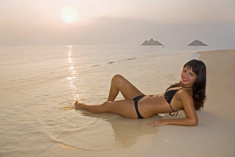 Download Beautiful Girl In A Bikini On The Beach Stock Photo - Image of beach, ocean: 7124662