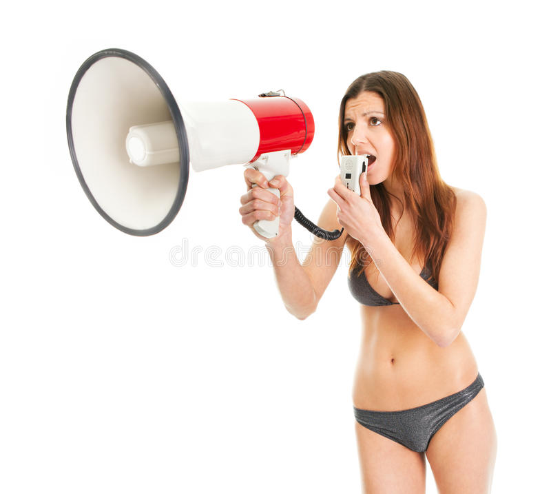 Download Beautiful Girl In Bikini Shouting Into Megaphone Stock Photo - Image: 18957744