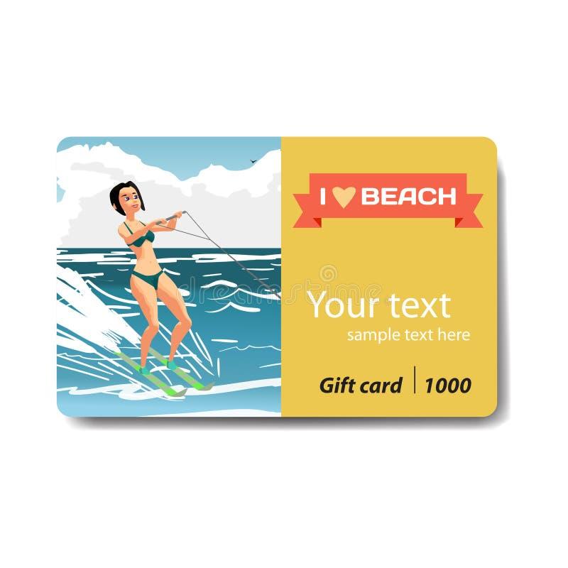Beautiful girl in bikini on water ski. Sale discount gift card. royalty free illustration