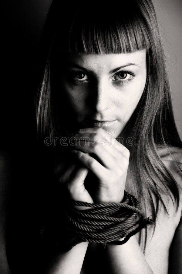 Beautiful girl bind hand. In black and white royalty free stock images