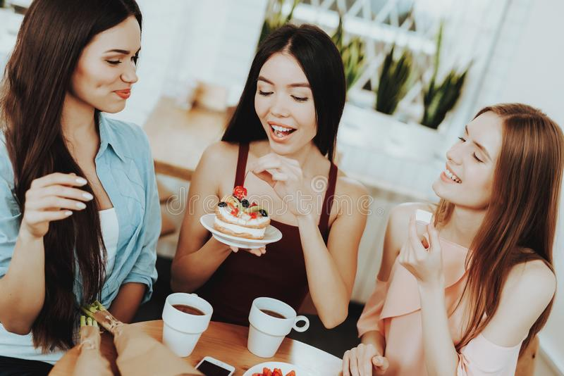 Beautiful Girl and Birthday time with Friends. Good Tea and Good Womens. Gift for Good Girl. Happiness when your Friends Happy. royalty free stock photo