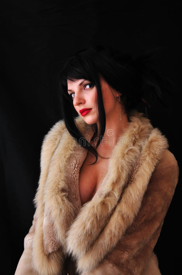 Beautiful girl on black background stock photo