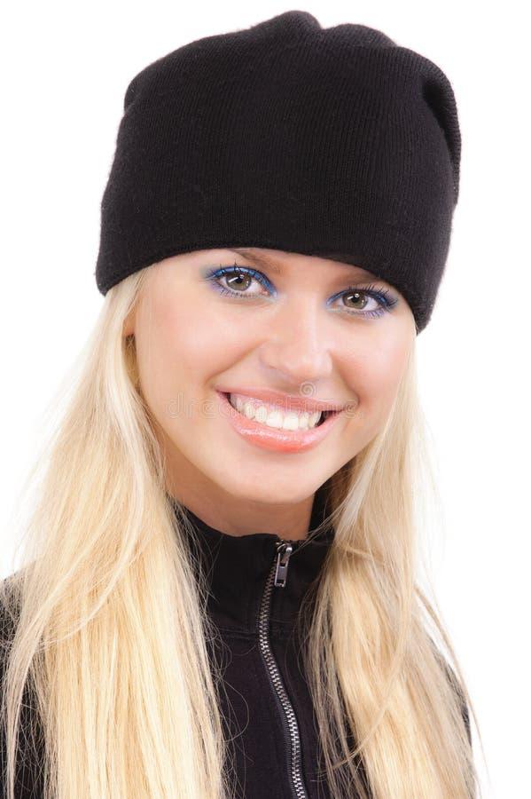 Download Beautiful Girl In Black Cap Stock Image - Image: 14046473