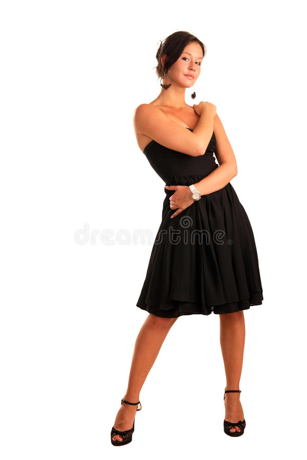 Beautiful girl in a black dress royalty free stock photos