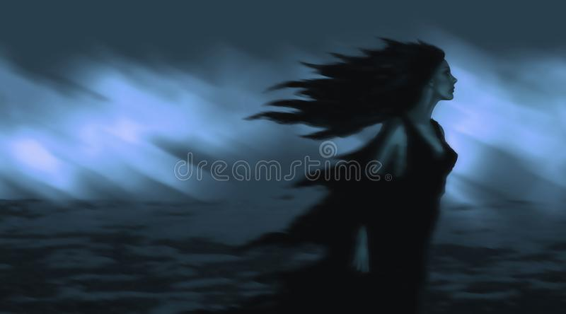Beautiful girl with black hair developing in the wind royalty free illustration