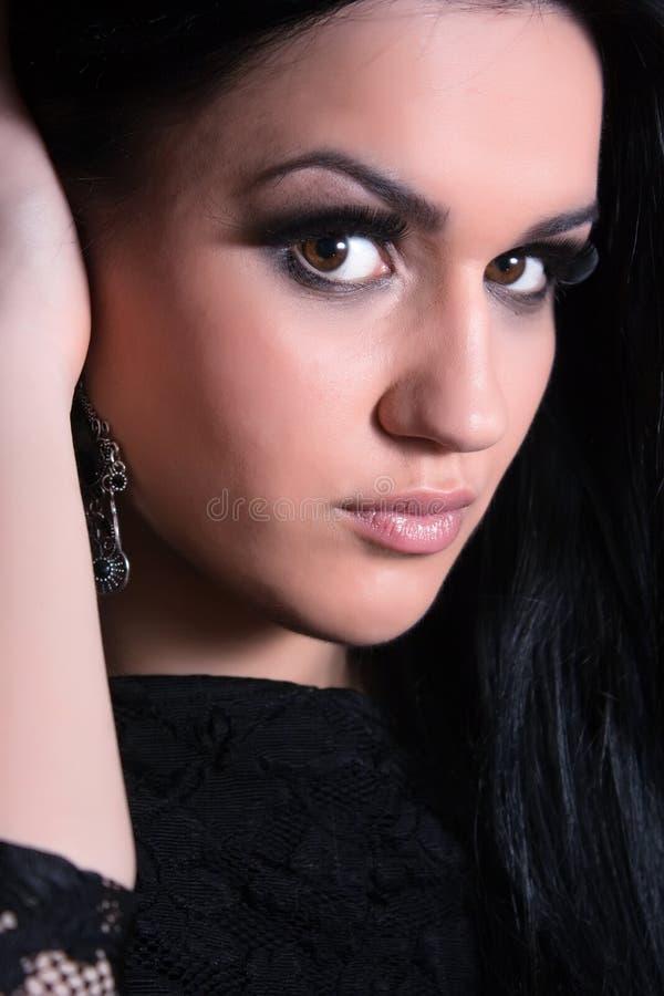 Pretty Young Dark Hair Woman Portrait Beauty Stock Image