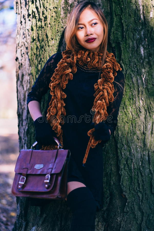 100% top quality high fashion sale uk Beautiful Girl In Leather Gloves Stock Image - Image of ...