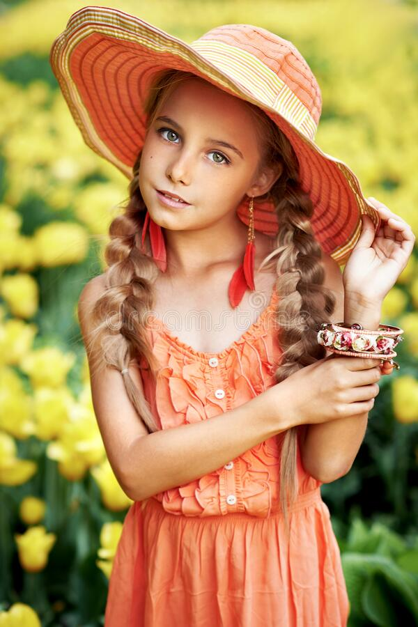 Girl in the garden royalty free stock photo