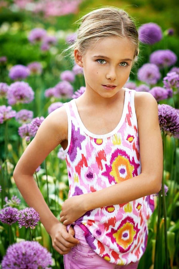 Girl in the garden stock image