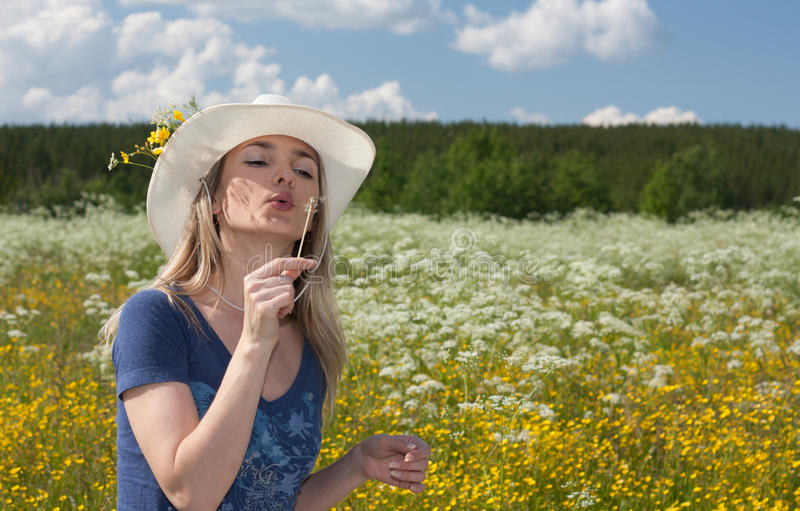 Download Beautiful Girl Blows On Dandelion In White Hat Stock Image - Image of female, blowing: 10292557