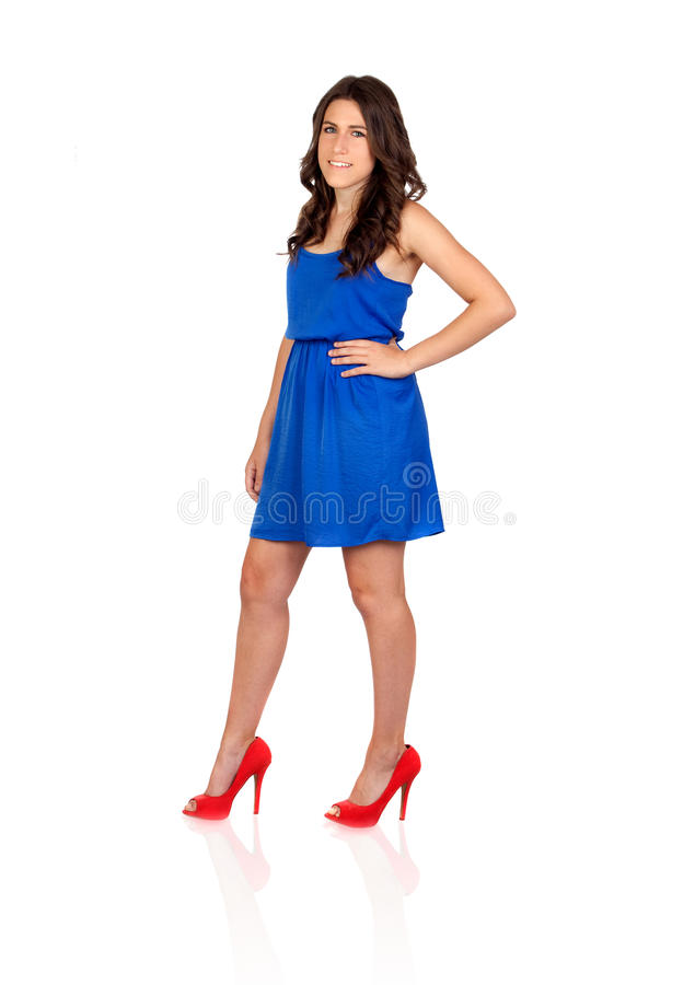 Download Beautiful Girl With Blue Dress Stock Photos - Image: 26957493