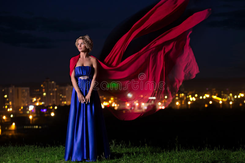 Download Beautiful Girl In A Blue Dress Stock Photo - Image of famous, fashion: 39515198
