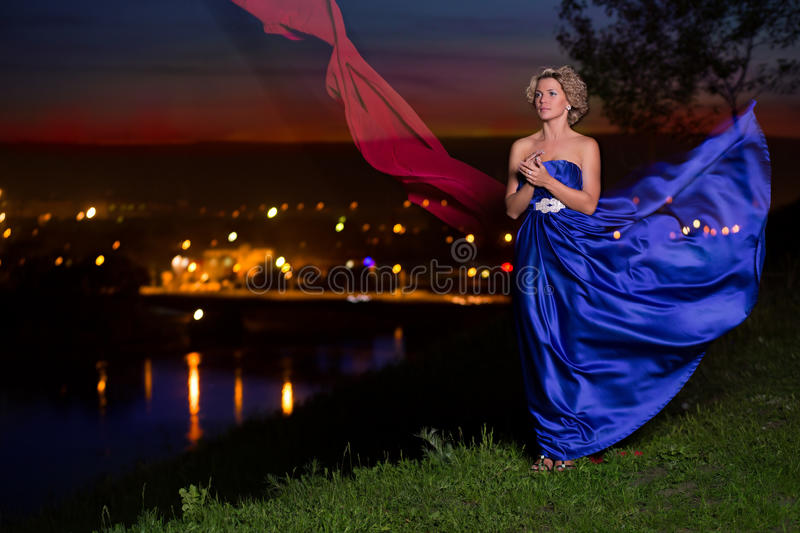 Download Beautiful Girl In A Blue Dress Stock Image - Image of hair, elegance: 39515213