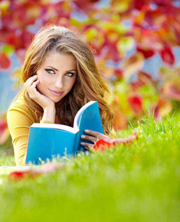 Beautiful Girl With Book Stock Photography