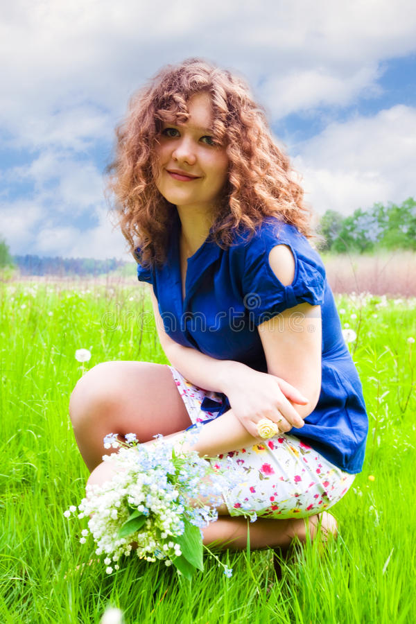 Download Beautiful Girl With Bouquet Stock Photo - Image: 14434704