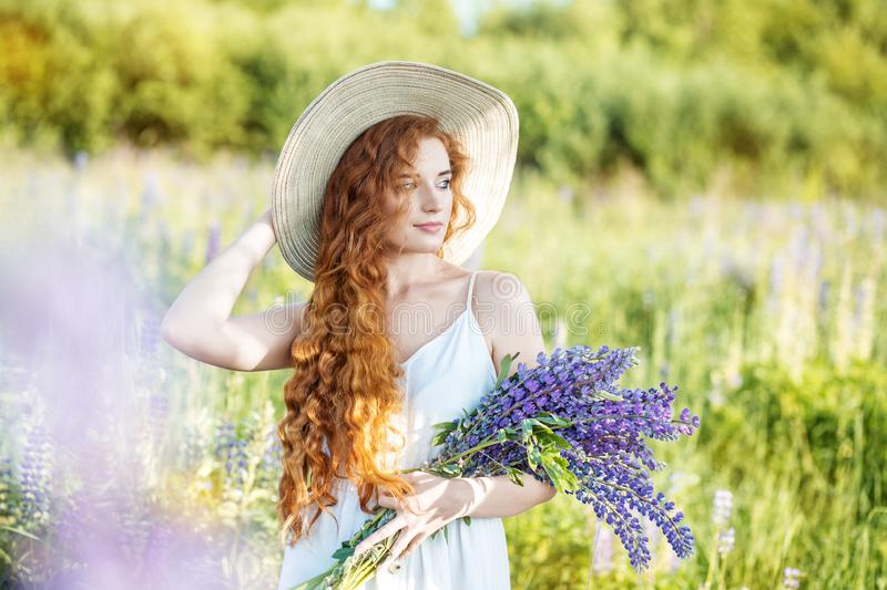 Beautiful girl with a bouquet of lupins flowers. Woman with long hair. Concept summer, lifestyle, travel and beauty royalty free stock images
