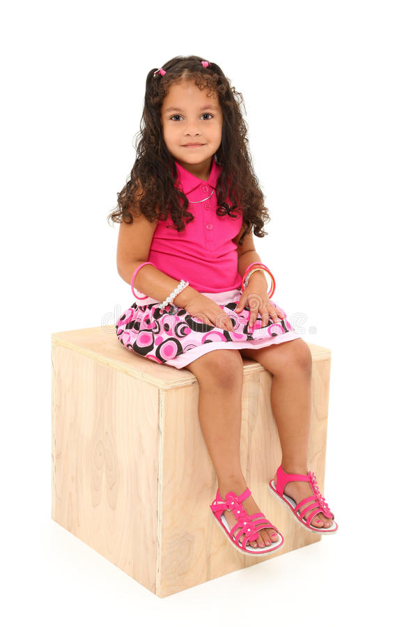 Beautiful Girl on Box stock photo
