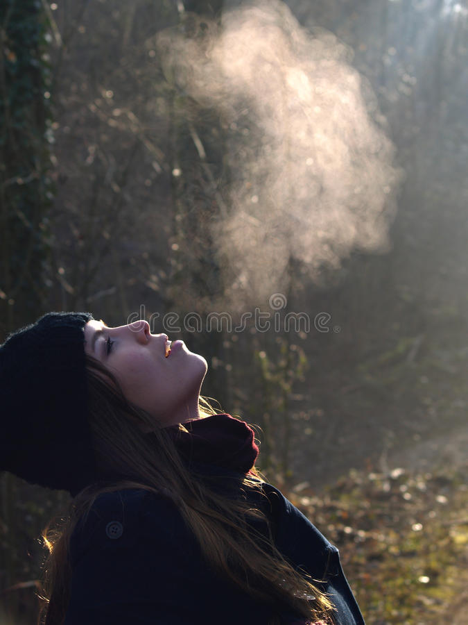 Free Beautiful Girl Breathing Warm Air Stock Photography - 34221412