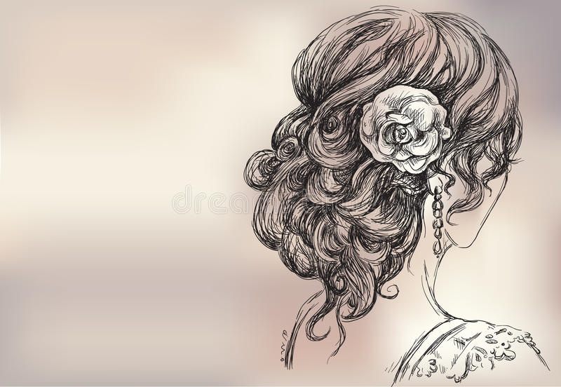 Download Beautiful Girl, Bridal Hairstyle Stock Vector - Image: 27440525