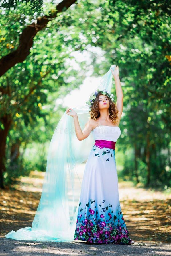Beautiful girl bride in designer dress royalty free stock images