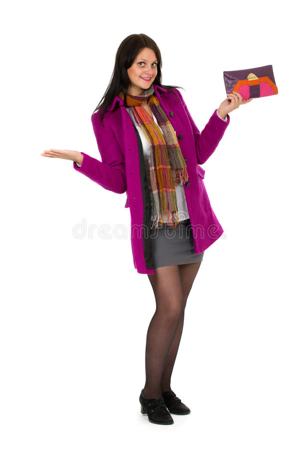 Beautiful girl in a bright coat stock images