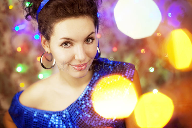 Beautiful girl in the bright night lights. Images of a beautiful girl in the bright night lights royalty free stock photos